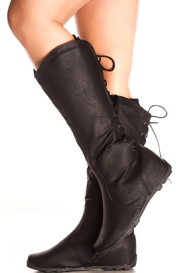 6cbb06033a8 BLACK FAUX LEATHER BACK LACE DESIGN SIDE ZIPPER KNEE HIGH CASUAL BOOTS