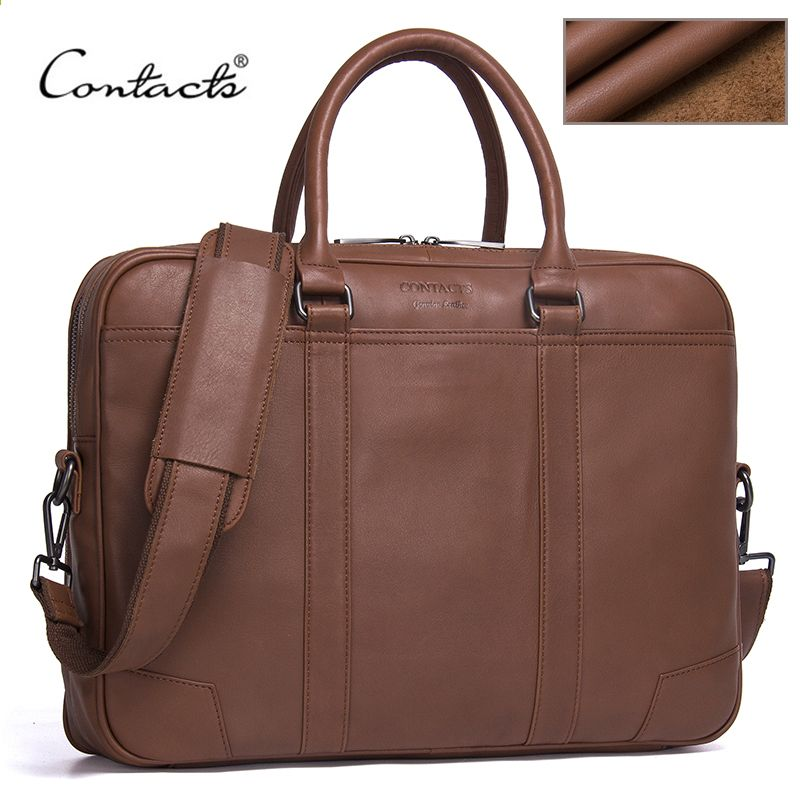 020a23e722d97 CONTACT S Marke Aktentaschen aus echtem Leder Herren Messenger Bags New  Fashion Male Schulter Portfolio Laptop Tasche