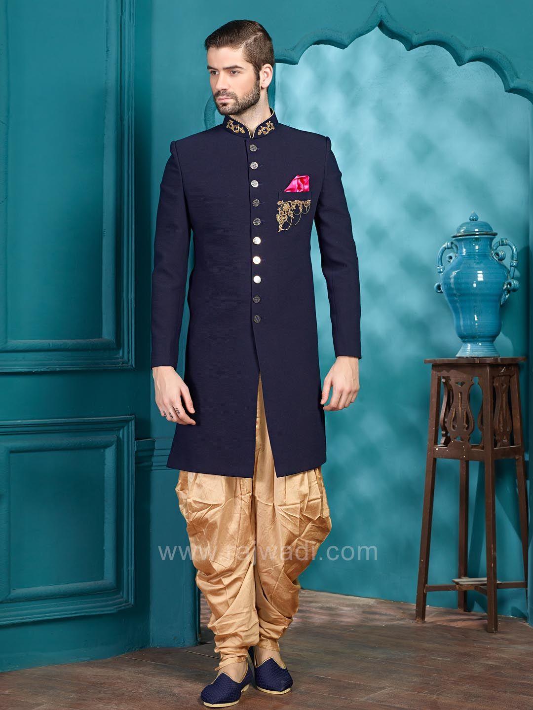 Emboss Fabric Indo Western Sherwani in Navy Color #rajwadi ...