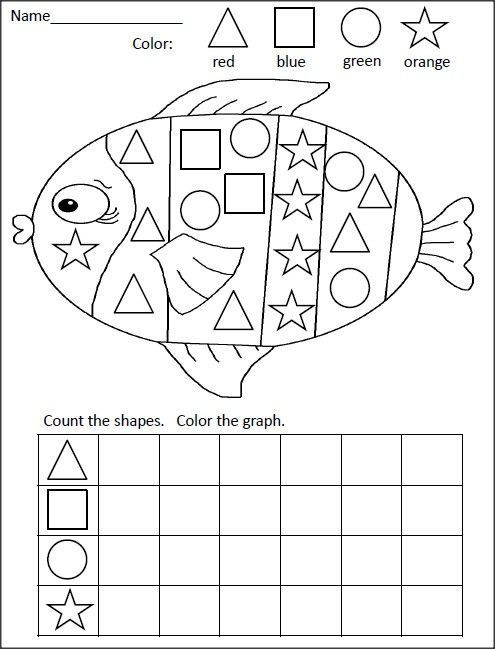 Shapes Graphing Activity Fish Kindergarten Math Activities