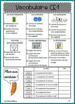 Ceintures de vocabulaire CE1 | Ce1, Programme ce1, Exercice ce1