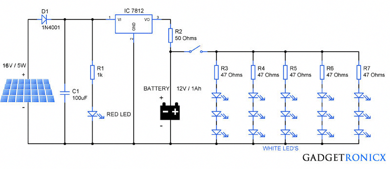 Solar Garden Lights Circuit Diagram Schematic Design Tutorial On Building Electronic Circuit Of A Solar Pane Solar Lights Garden Solar Panels Solar Technology