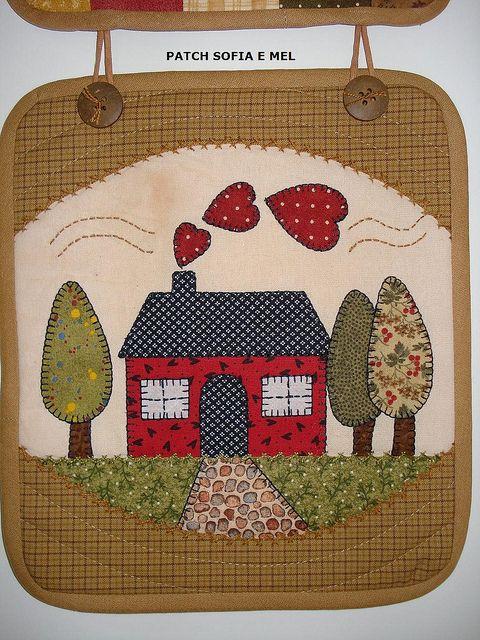 Welcome casas cuadros de patchwork casas de tela y - Casas de patchwork ...