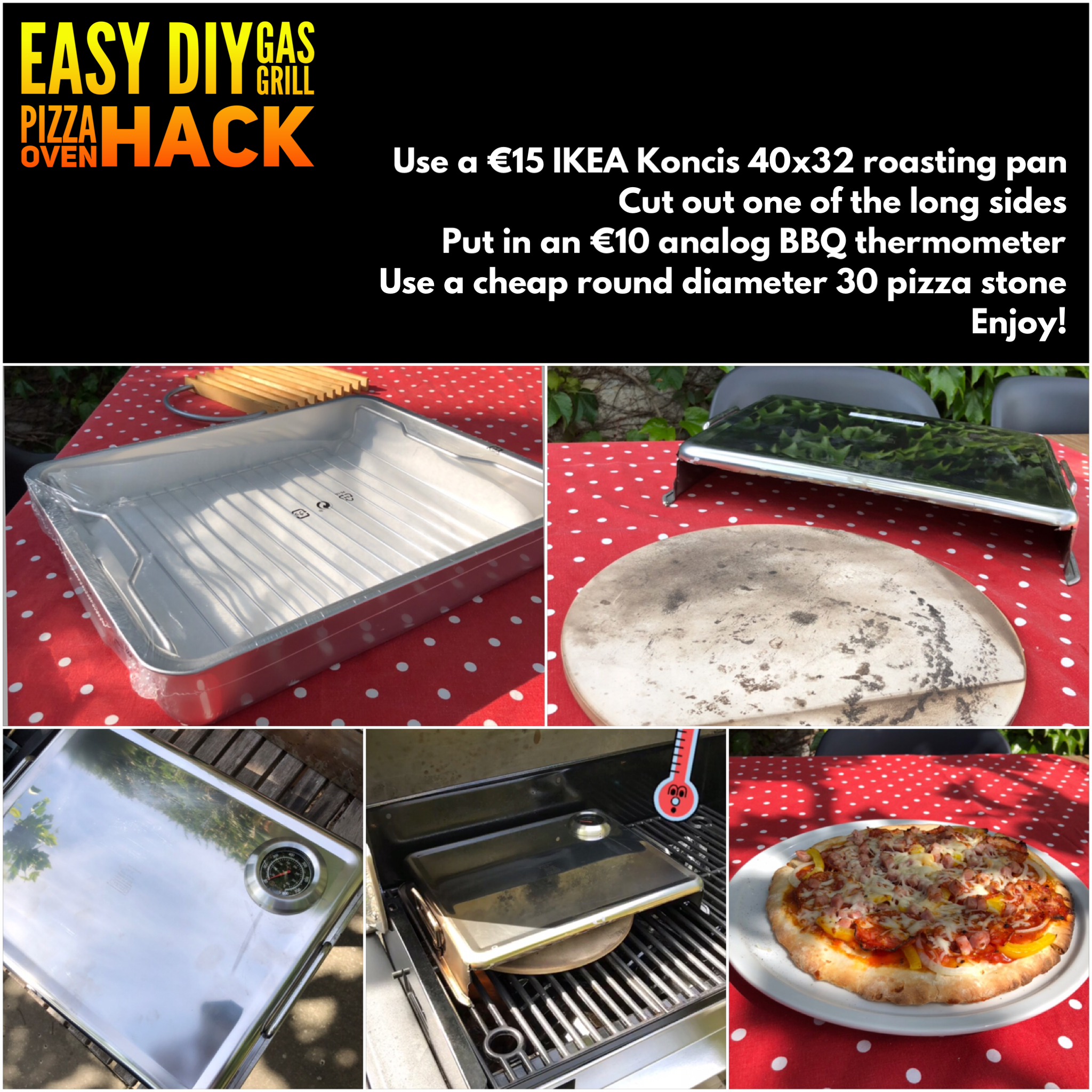 DIY gas grill pizza oven hack BBQ