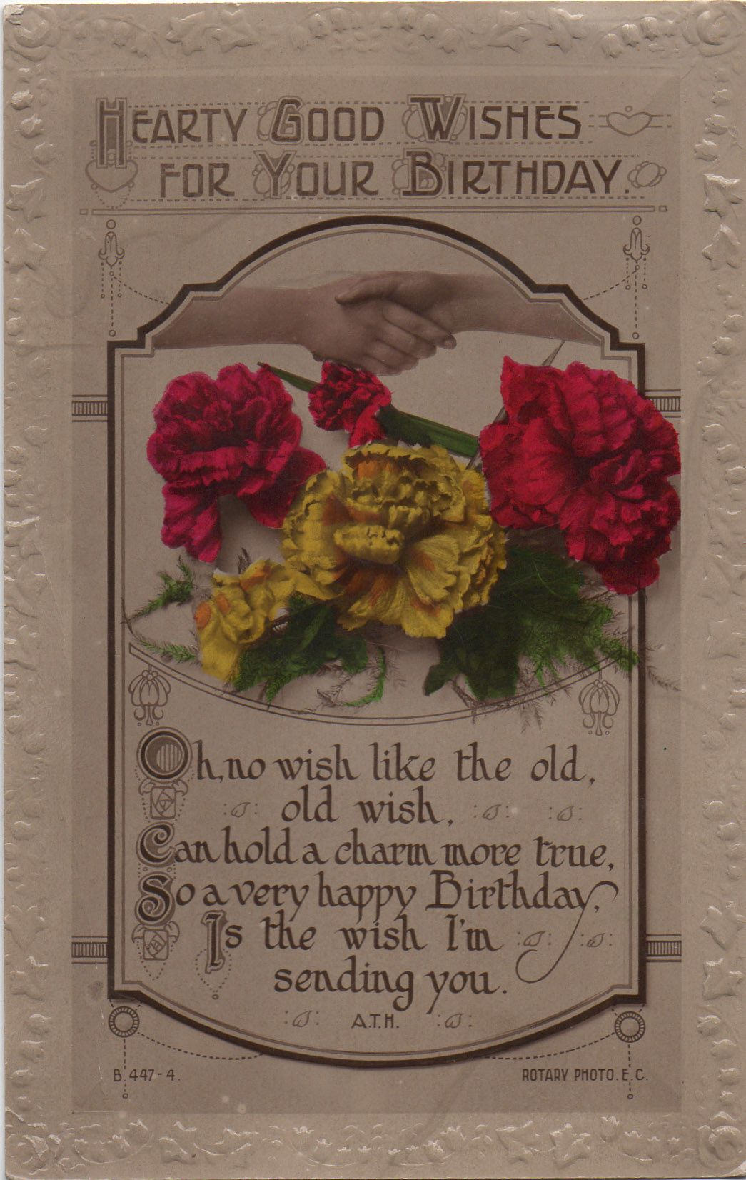 Rotary Song Postcard Hearty Good Wishes for your Birthday Carnations Hands