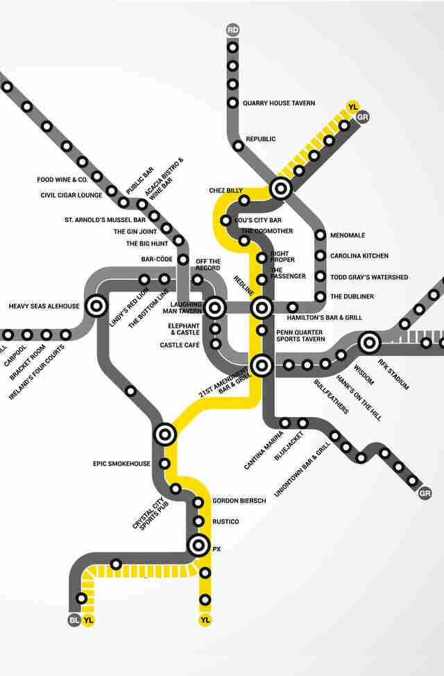 DC's first Metro bar map will direct you to beer | DC | Pinterest