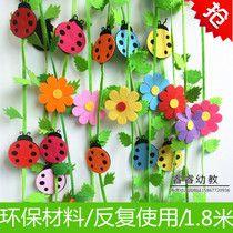 Питомник украшения украшения коридора макет среды классе наклейки стены хранят прелести Божья коровка Sun цветок украшения