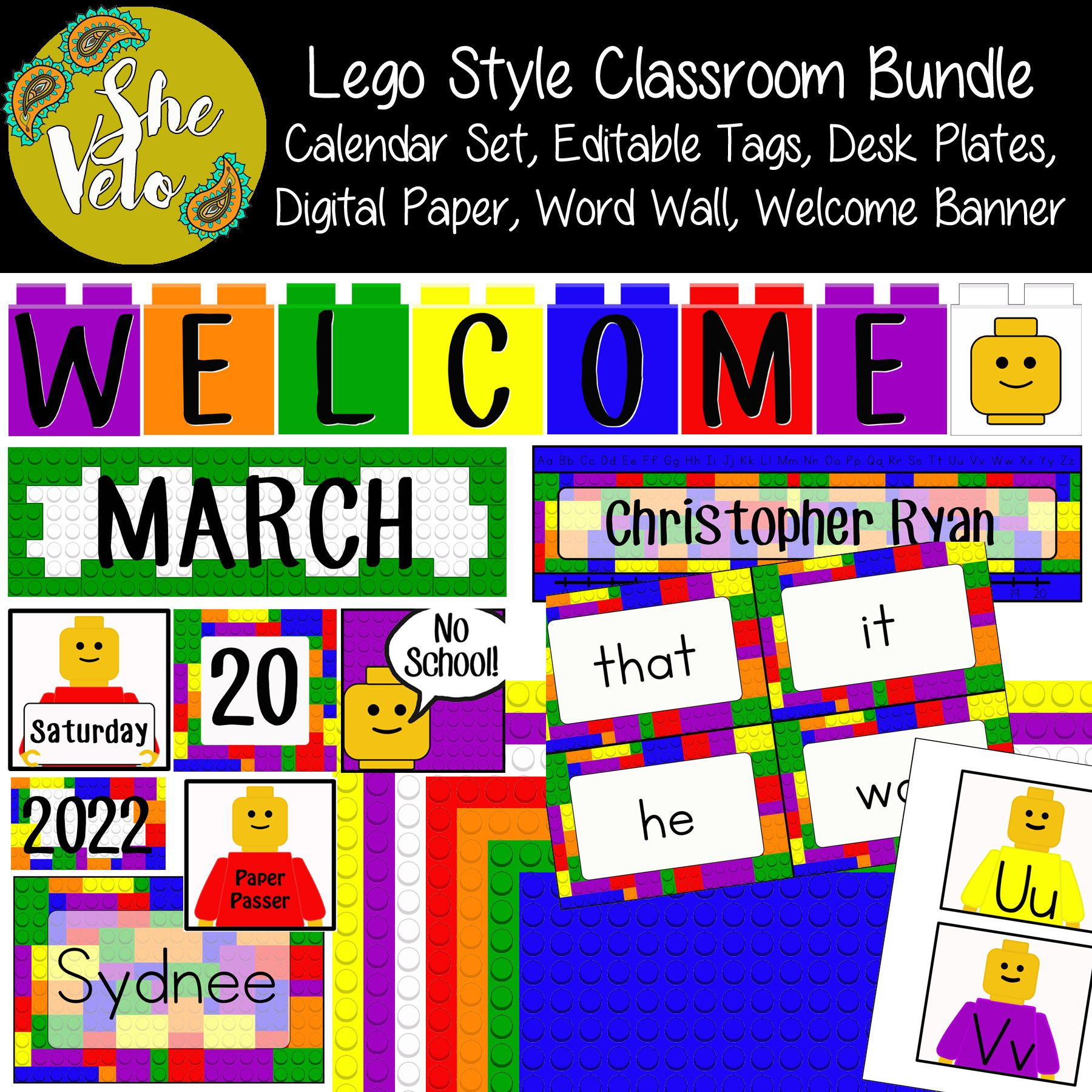 Lego Style Classroom Set Welcome Banner Calendar Editable Tags