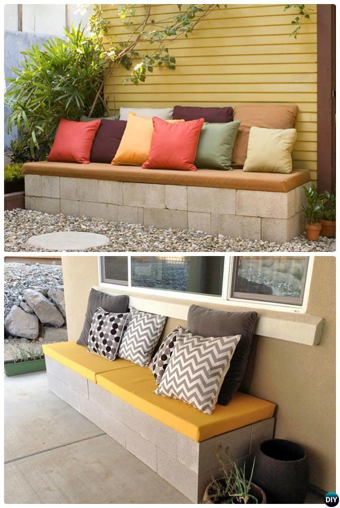 DIY Cinder Block Garden Bench-10 Simple Cinder Block Garden Projects ...