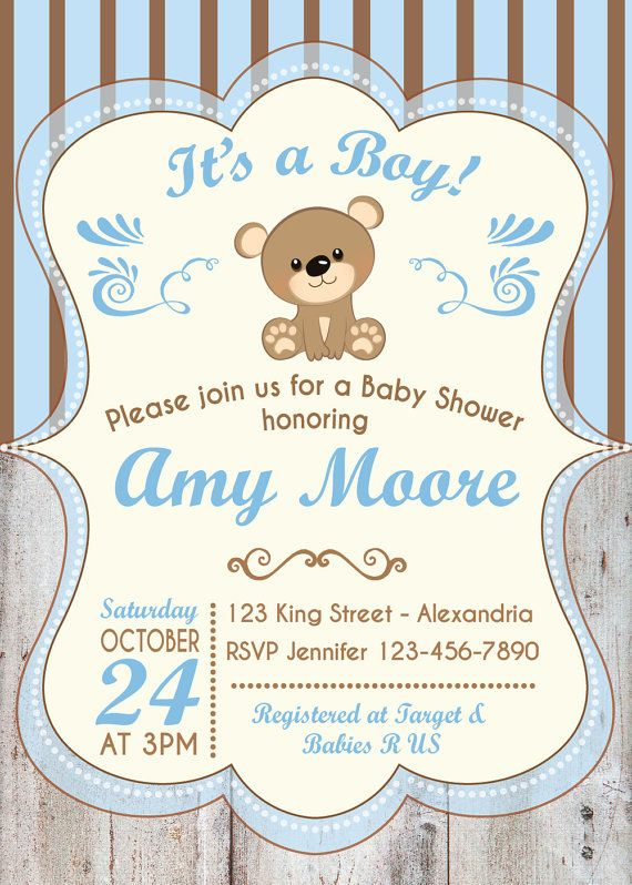 26a4c85a92553 Baby Shower Invitation. Baby boy. Bear babyshower invite. Teddy bear ...