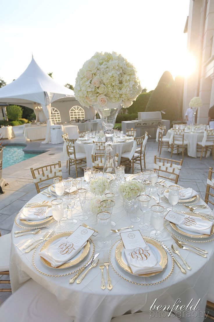 Tall white hydrangea centerpiece on all white tables with gold ...