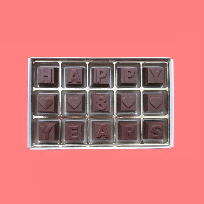 8th Anniversary Gift For Husband Eighth Wedding Her Wife Love Romantic Idea Happy 8 Years Milk Chocolate Message