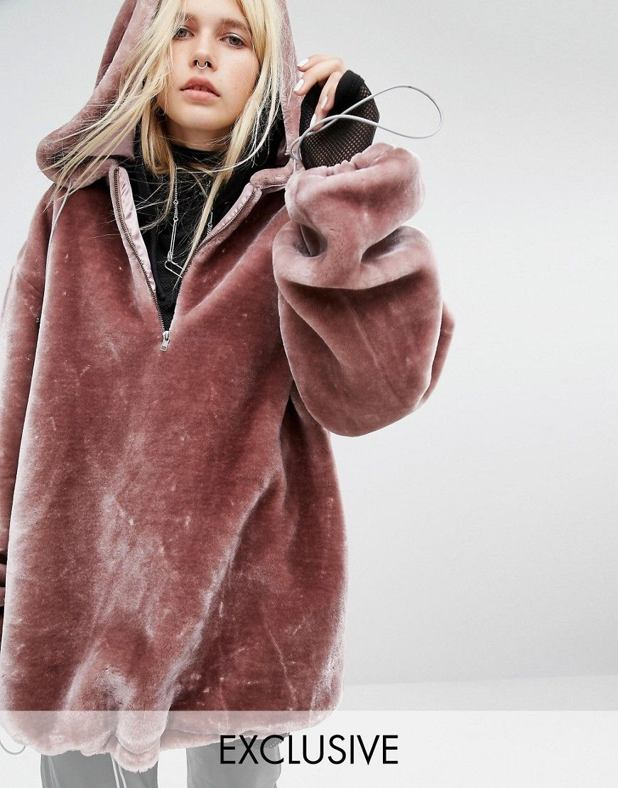 773c33709d0 Story Of Lola Extreme Oversized Hoodie Coat In Faux Fur ...