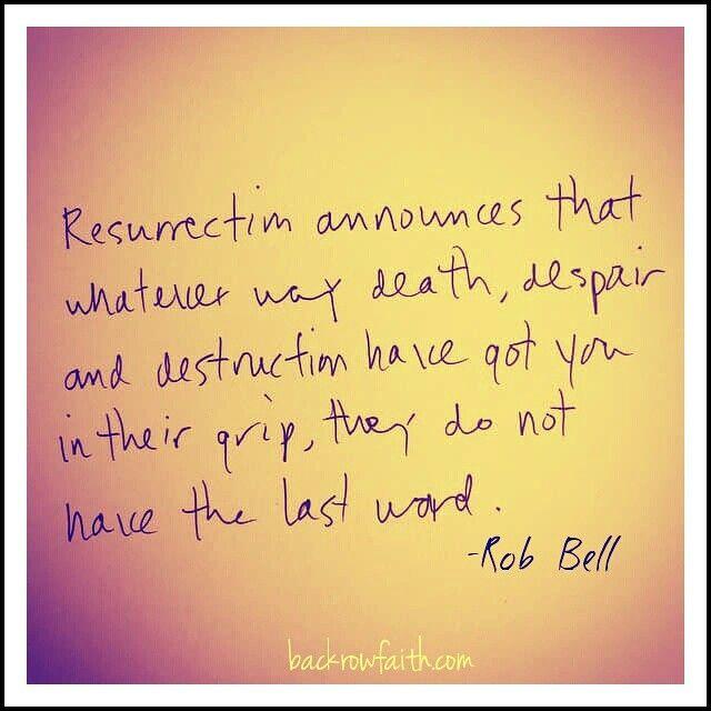 New on the blog...resurrection www.backrowfaith.com