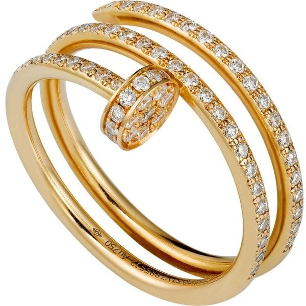 CARTIER Juste un Clou 18ct yellow-gold and diamond ring ($10,265) ❤ liked on Polyvore featuring jewelry, rings, diamond rings, wrap ring, gold rings, diamond jewelry and cartier jewellery