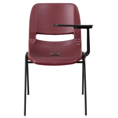 "Flash Furniture 17.38"" Plastic Tablet Arm Chair Seat Color: Burgundy"
