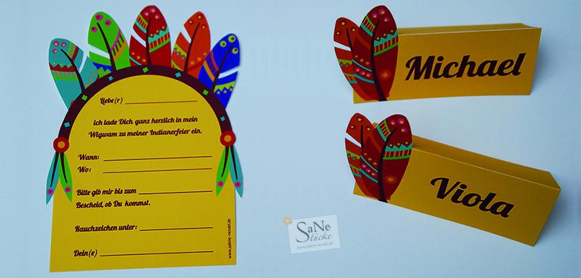 kindergeburtstag indianer einladungskarte und tischkarte zum, Einladung