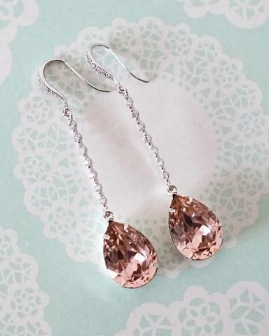 3c9d61cca276 Vintage Pink Crystal Long Earrings