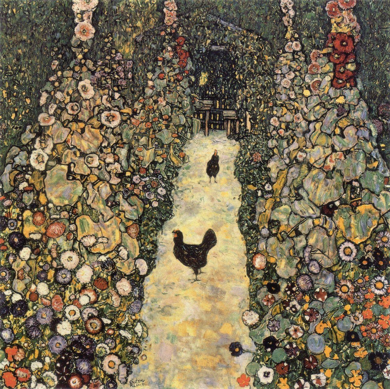 """«Gustave Klimt: """"Garden Path with Chickens"""" (1916)»."""