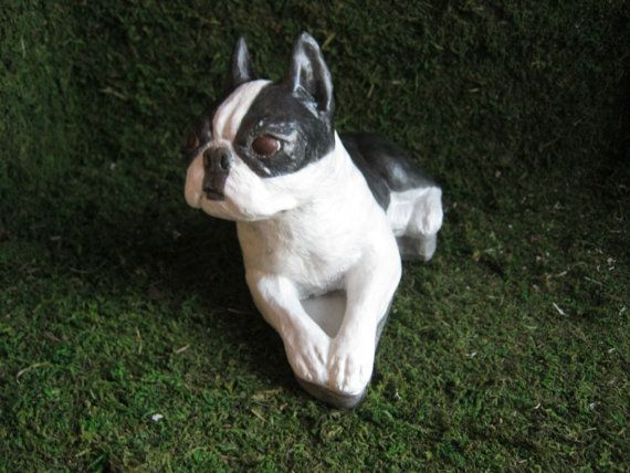 High Quality Boston Terrier Painted Dog Statue By WestWind Home U0026 Garden