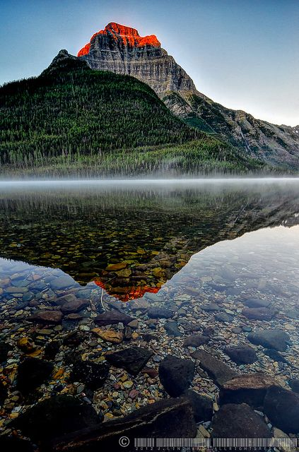 First light on Kinnerly Peak, Glacier National Park, Montana Destination: the World