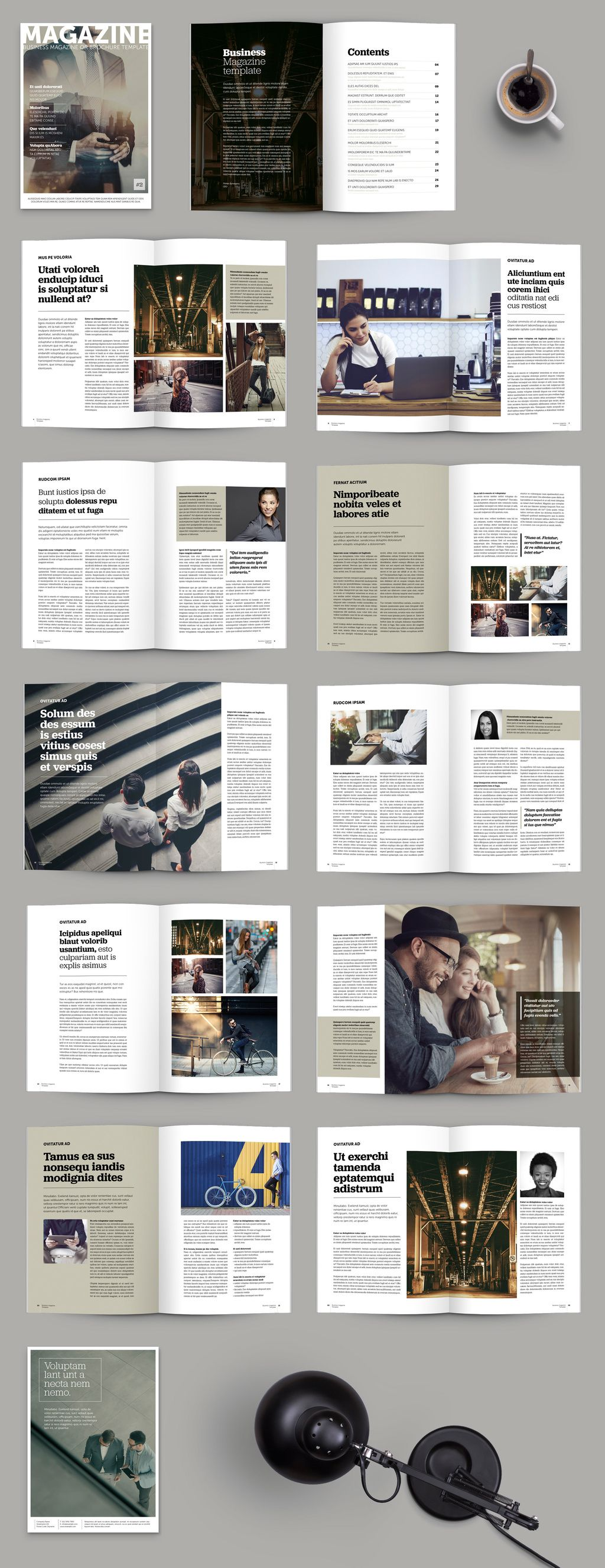 Brochure/Magazine Layout with Olive Green Accents. Acquista questo modello stock ed esplora modelli simili in Adobe Stock