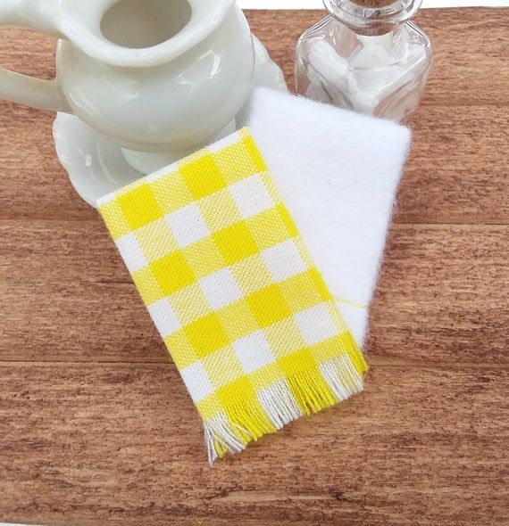 Miniature Dish Towels Dollhouse Yellow And White Kitchen Hand