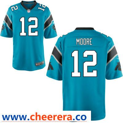 40a5f9e4 Men's Carolina Panthers #12 D. J. Moore Light Blue Alternate Stitched NFL  Nike Game Jersey