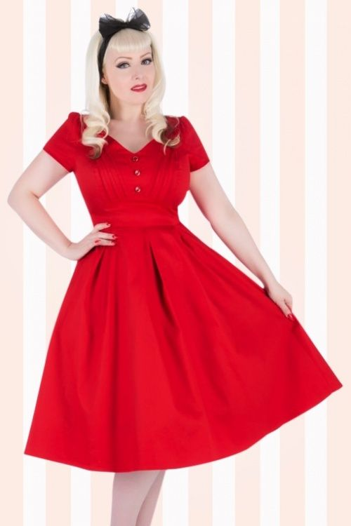 Hearts Roses 40s Evie Swing Dress In Red Look