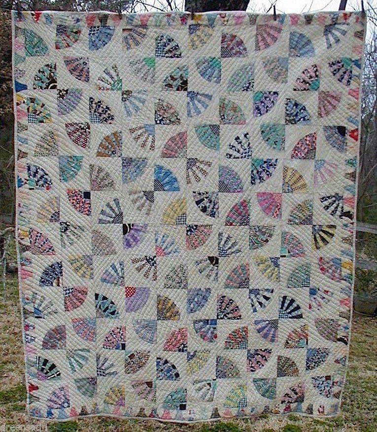 1930s Grandmothers Fan Antique Handmade Quilt Vintage Multi Colors Border | eBay