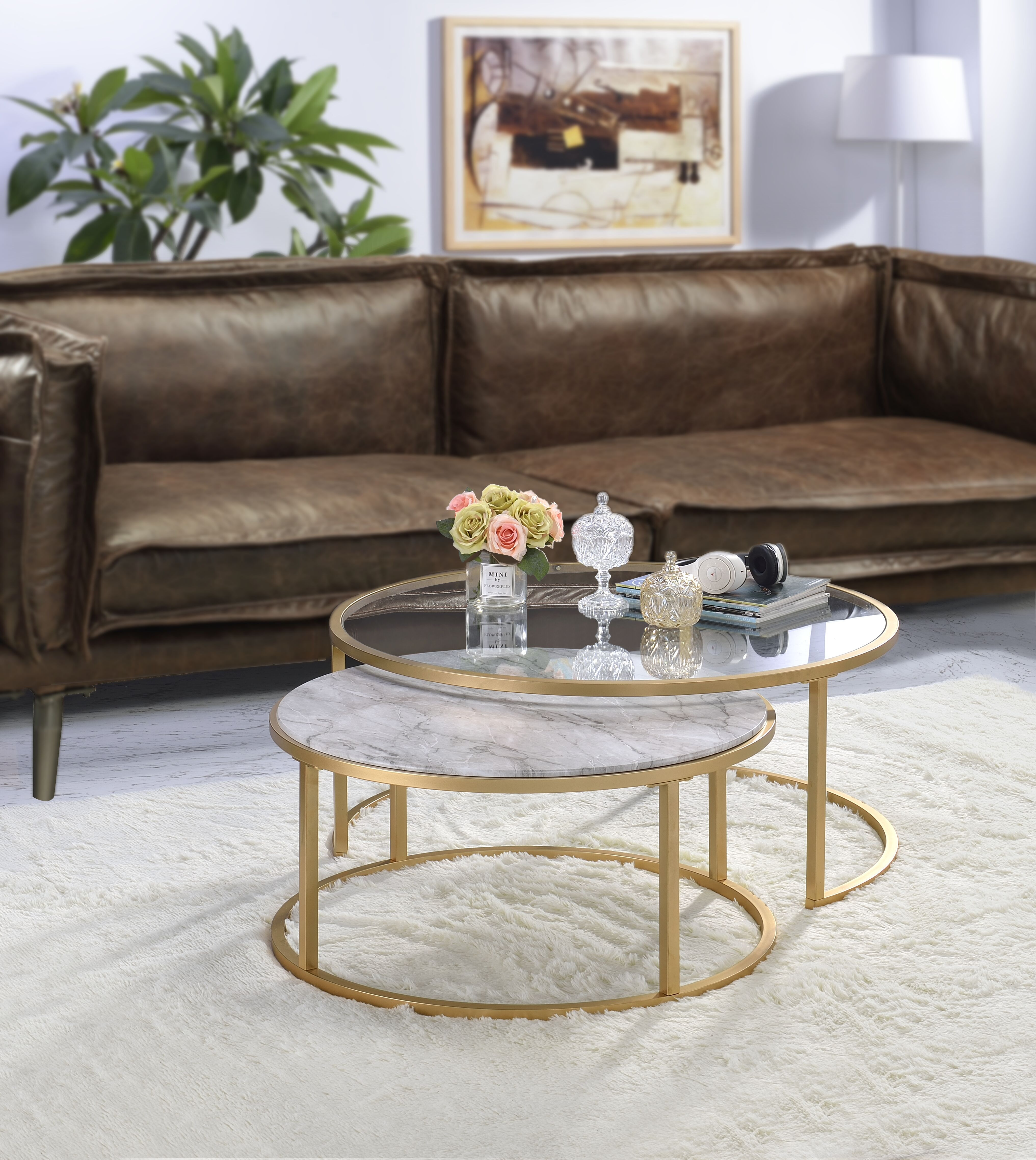 Acme Shanish 2pc Pack Coffee Table Set In Faux Marble And Gold Walmart Com Nesting Coffee Tables Gold Nesting Coffee Table Coffee Table [ 4553 x 4066 Pixel ]