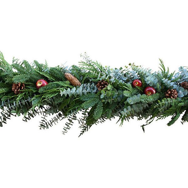 6' Holiday Apple Garland Dried Mantelpieces Garlands & Swag (95 CAD) ❤ liked on Polyvore featuring home, home decor, holiday decorations, christmas, decorative accessories, floral home decor, holiday decor, pine cone home decor, christmas holiday decorations and christmas holiday decor