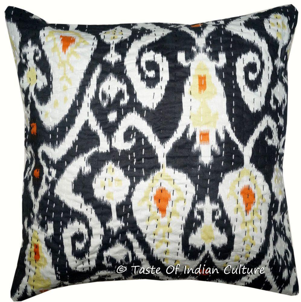 "Black Cushion Cover Kantha Work Cotton Pillow Case Ikat Printed Throw Decor 16/"""