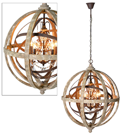 Large Round Wooden Orb Chandelier With Metal Detail And Crystal Droplets