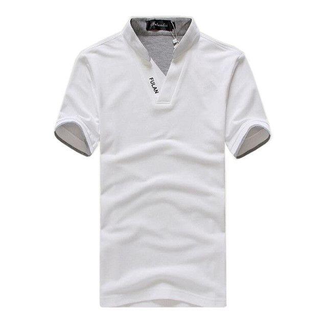 f9cb5da925fc Men s V-Neck Short Sleeve Polo Shirt