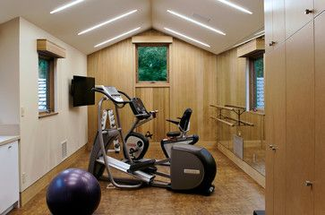 smaller space exercise room i love this even has a tv on