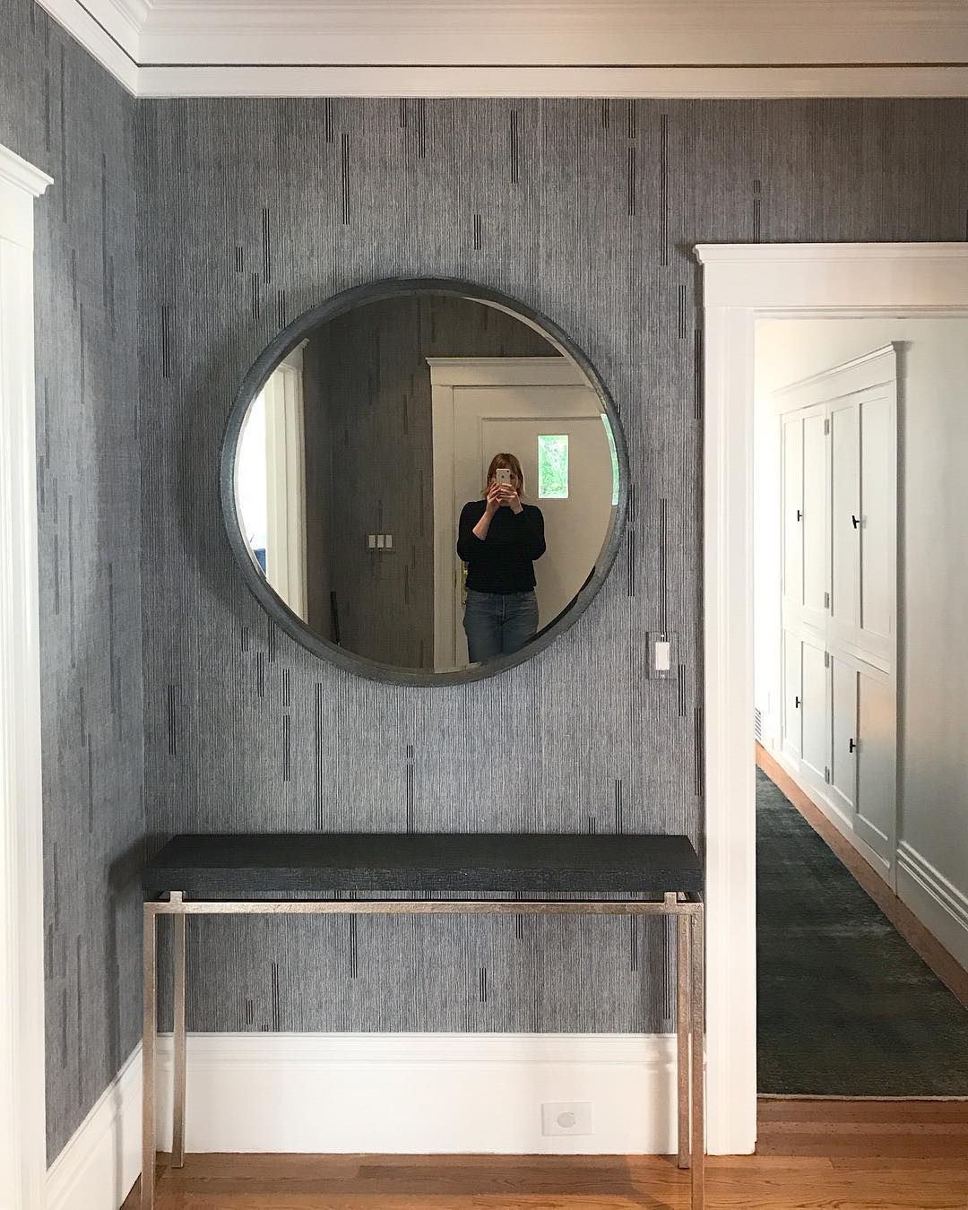 Well Hello There Sneak Peek Of A Tailor Grasscloth Install Captured By The Ladies Of Macfeedesign Can T Wa Round Mirror Bathroom Grasscloth Bathroom Mirror
