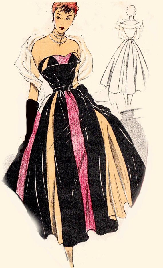 Vintage Sewing Pattern 1950\'s Evening Gown in Any Size - PLUS Size ...