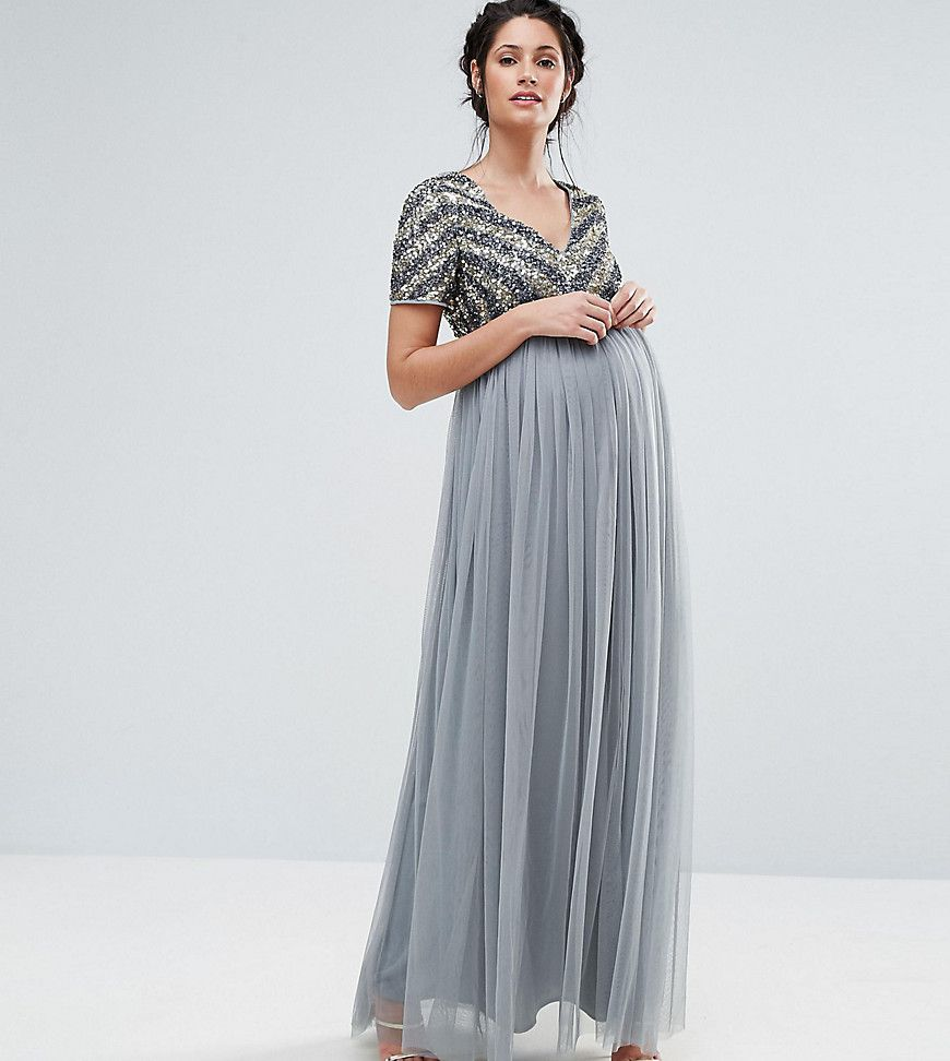 Maya Maternity V Neck Embellished Bodice Maxi Dress - Blue | Clothes ...