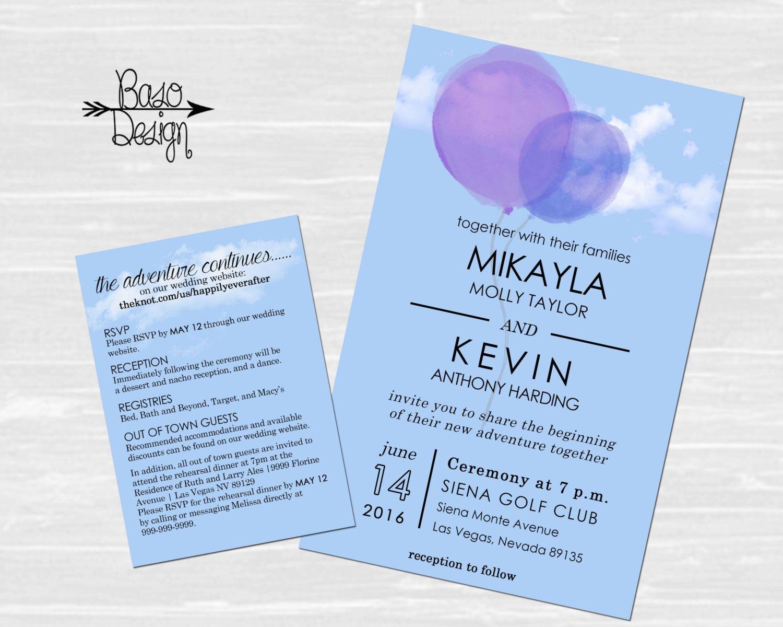 Disney Up Wedding Announcement & RSVP   Balloon Invitation  Clouds   Custom by BasoDesign on Etsy https://www.etsy.com/listing/279811628/disney-up-wedding-announcement-rsvp