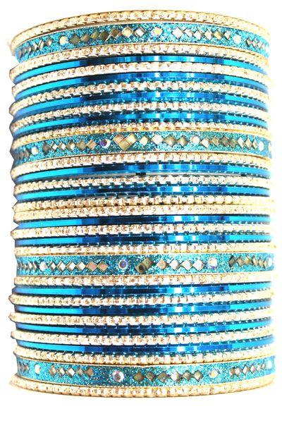 utopiajdesigns.com: Bangles Set Blue [KP 1032]  [KP 1032]  $24.00