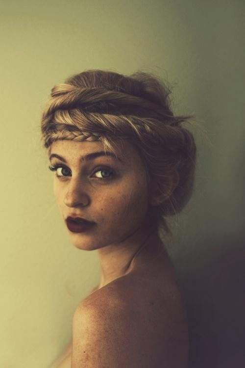 Boho Twisted Hairstyle with Braided Crown --- ignore the hairdo and appreciate her beauty.. god, she's gorgeous