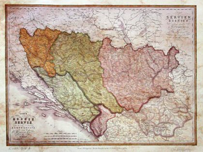 Karta Bosne Srbije Crne Gore F Fried Bec 1823 Kopija Old