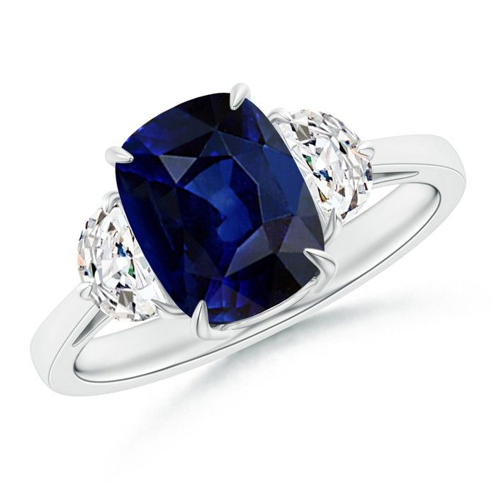 Angara Cushion Sapphire and Diamond Three Stone Ring in 14k White Gold BggvUGZ0vw