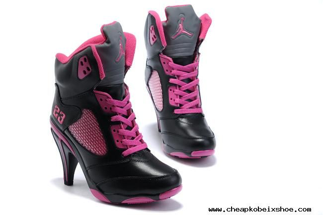 Air Jordan 5 V Womens Heels Ankle Boots 2012 Black Pink New Fashion Cheap  Cheap