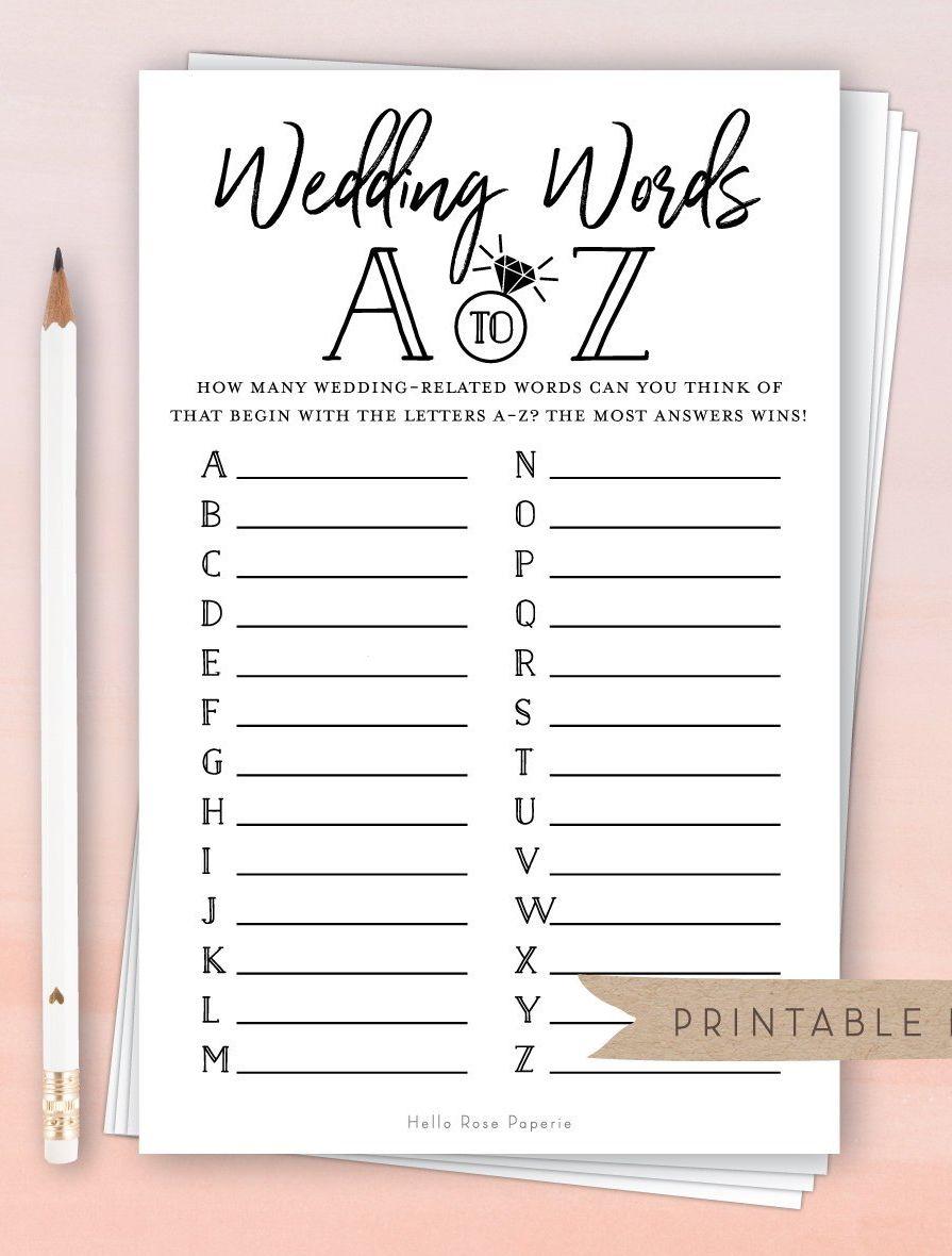 Wedding Words A Z Virtual Printable Bridal Shower Game Etsy In 2020 Fun Bridal Shower Games Printable Bridal Shower Games Bridal Shower Games