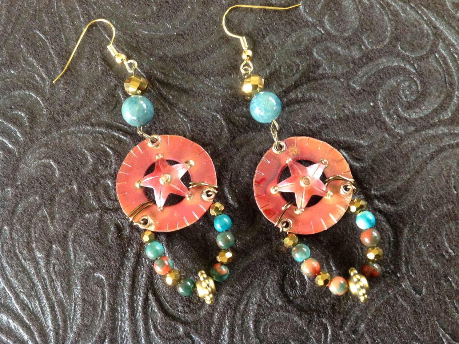 Shooting star earrings in red copper with turquoise coral bead mix and gold accents by CrowsFeetStudio on Etsy