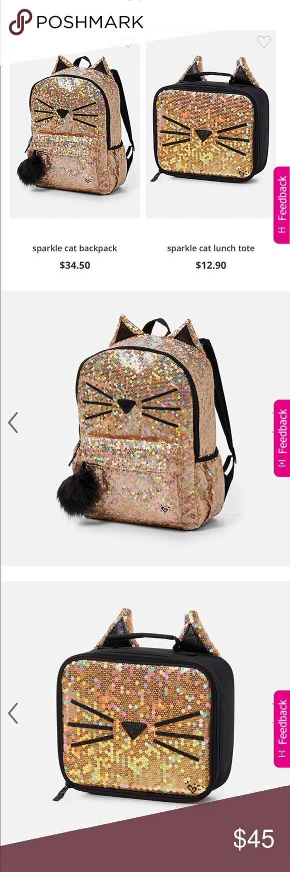Nwt Justice Book Bag And Lunch Brand New Sparkle Gold Cat With Ears Box Ships Same Day Accessories Bags