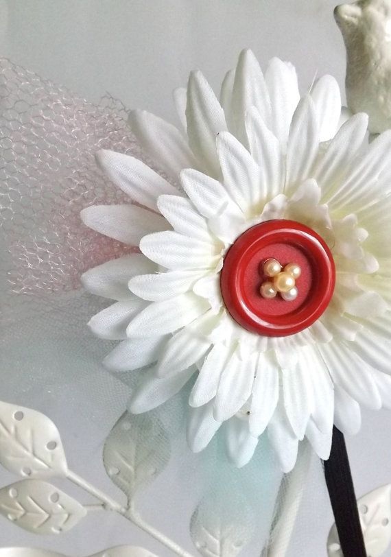 Stretch Head Band White flower with pink and minty green by bpps, $12.50