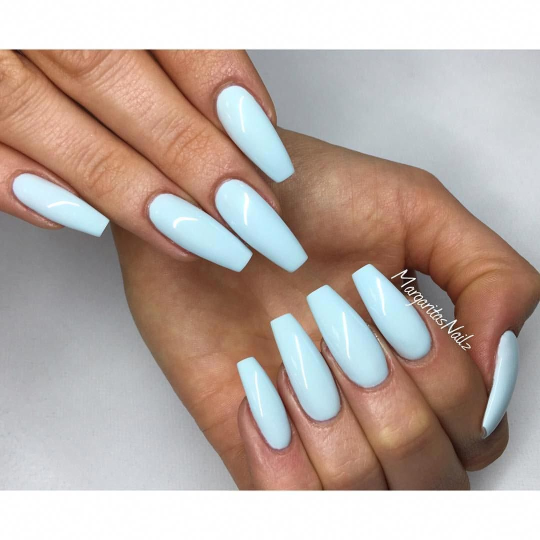 Baby Blue Coffin Nails Spring Summer Nail Art Acrylicnails Blue